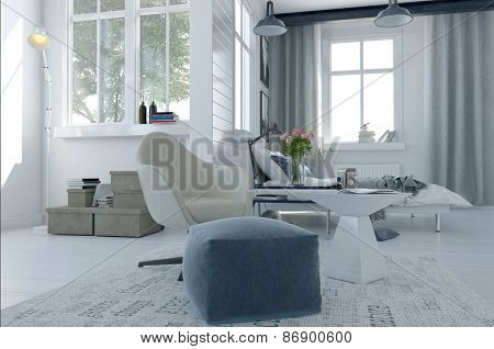 Large comfortable modern bed sitter interior with a bed and seating area in a spacious airy bright white room with grey decor and large windows. 3d Rendering