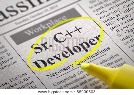 Sr. C plus  Developer Vacancy in Newspaper.