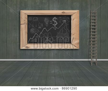 Business Concept Doodles Drawn On Blackboard With Wood Stepladder Indoor