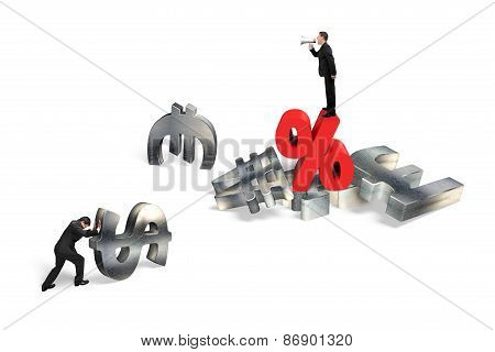 Businessman Yelling At Man Pushing Currency Symbol With Percentage Sign