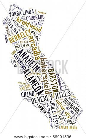 Word Cloud in the shape of California showing cities in California