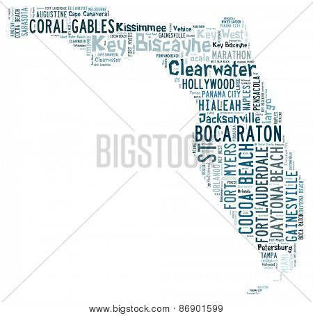 Word cloud in the shape of Florida showing cities in Florida