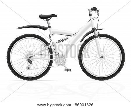Sports Bike With The Rear Shock Absorber Vector Illustration