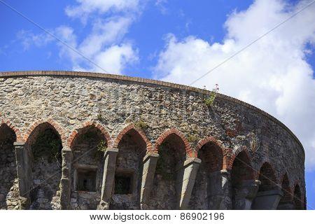 Detail Of A Castle In Sarzana La Spezia Italy