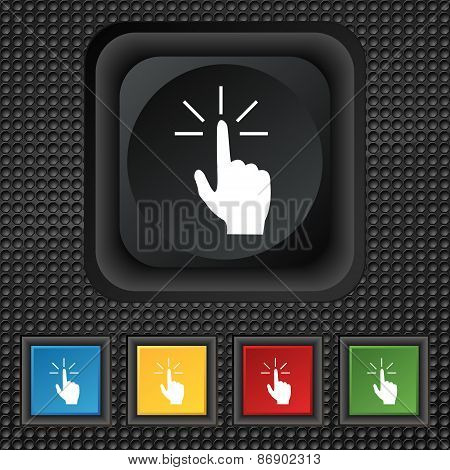 Click Here Hand Icon Sign. Symbol Squared Colourful Buttons On Black Texture. Vector