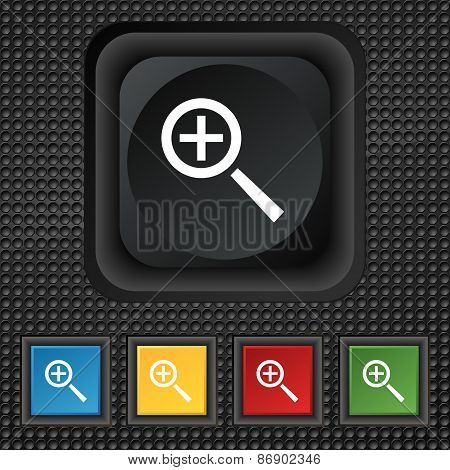 Magnifier Glass, Zoom Tool Icon Sign. Symbol Squared Colourful Buttons On Black Texture. Vector