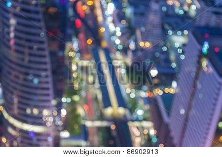 Blurred abstract background lights of cityscape view