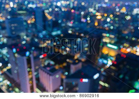 Urban city night light blur defocused background