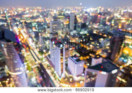 Blur image of Bangkok city with circle bokeh