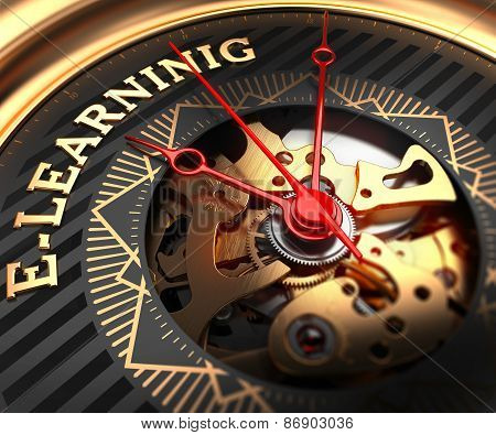 E-Learning on Black-Golden Watch Face.