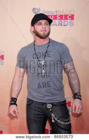 LOS ANGELES - MAR 29:  Brantley Gilbert at the 2015 iHeartRadio Music Awards Arrivals at the Shrine Auditorium on March 29, 2015 in Los Angeles, CA