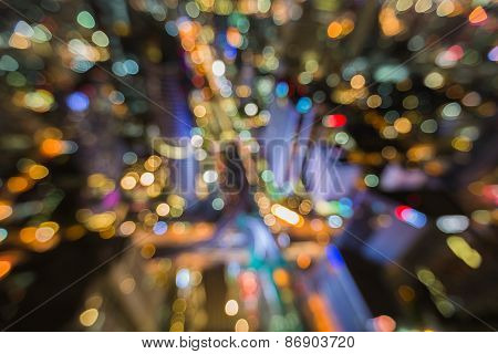 Abstract urban night light bokeh background