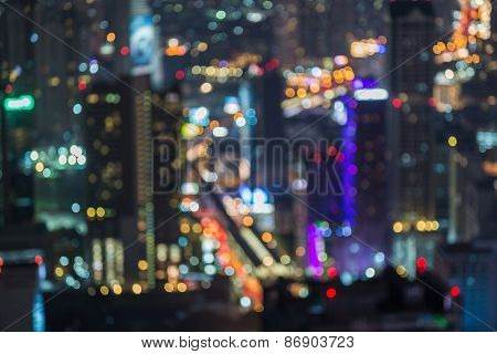 View of cityscape  night lights blurred bokeh background