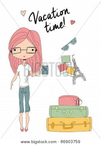 Girl Holding A Passport Standing Next To Suitcases, Ready For Vacation
