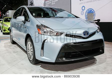 NEW YORK - APRIL 1: Toyota exhibit Prius v  at the 2015 New York International Auto Show during Press day,  public show is running from April 3-12, 2015 in New York, NY.