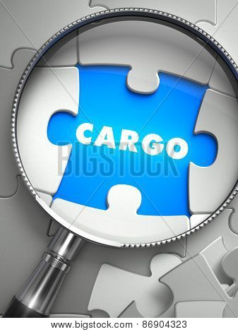 Cargo - Puzzle with Missing Piece through Loupe.