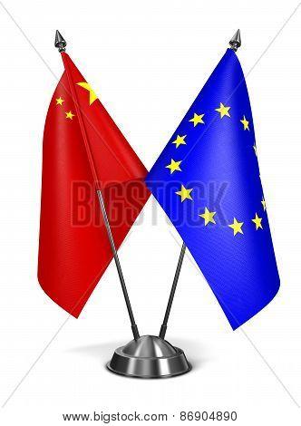 China and EU - Miniature Flags.