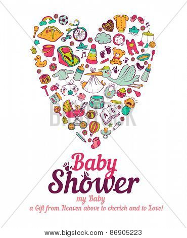 Baby shower announcement card in vector format