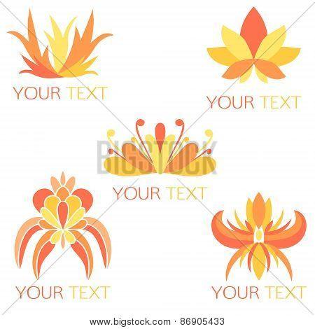 Set of 5 orange exotic floral symbols