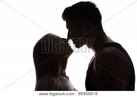 Passionate Sensual Attractive Young Couple In Love, Man Caresses Woman Neck, Isolated Black And Whit