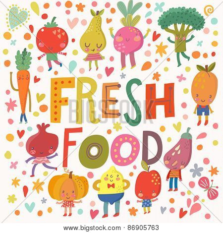 Lovely fresh food concept card with sweet fruits and vegetables in vector. Tasty lemon, apple, eggplant, apricot, broccoli, beet, pear, tomato, carrot, pomegranate and pumpkin in funny cartoon style