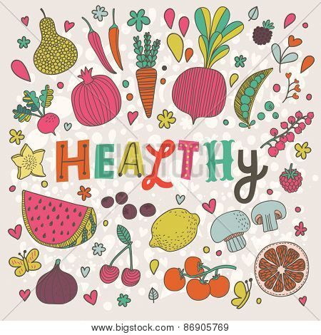 Sweet healthy concept card in vector. Tasty pear, cherry, pomegranate, orange, mango, watermelon, lemon, apple, red currant, raspberry, fig, blueberry and carambola in funny cartoon style