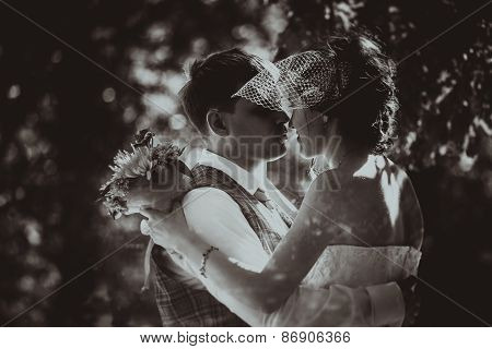 Monochrome Black And White Photo Of The Wedding The Bride And Groom Portrait