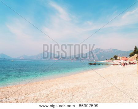 Beautiful seascape of mediterranean waters at Fethiye, Turkey