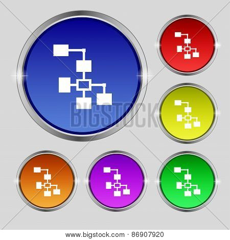 Local Network Icon Sign. Round Symbol On Bright Colourful Buttons. Vector