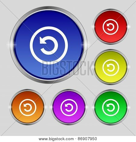 Upgrade, Arrow, Update Icon Sign. Round Symbol On Bright Colourful Buttons. Vector