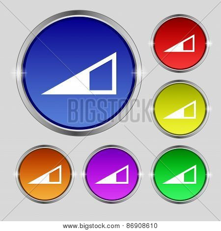 Speaker Volume Icon Sign. Round Symbol On Bright Colourful Buttons. Vector