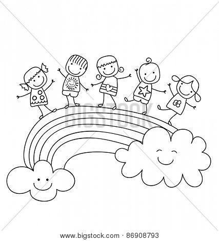 happy children on a rainbow, best friends