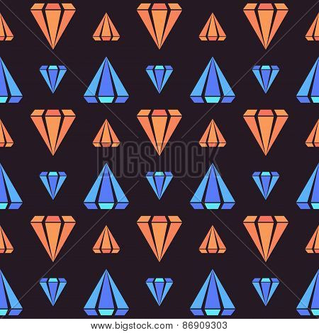 Retro contrast seamless pattern with diamonds