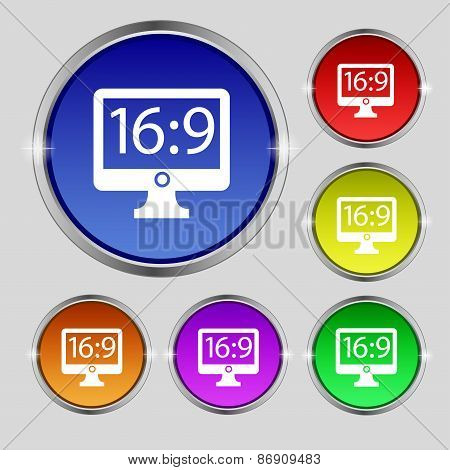 Aspect Ratio 16 9 Widescreen Tv Icon Sign. Round Symbol On Bright Colourful Buttons. Vector