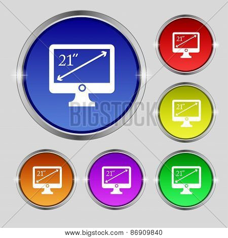 Diagonal Of The Monitor 21 Inches Icon Sign. Round Symbol On Bright Colourful Buttons. Vector