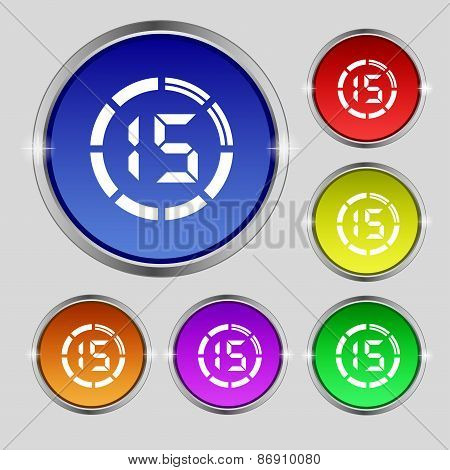 15 Second Stopwatch Icon Sign. Round Symbol On Bright Colourful Buttons. Vector