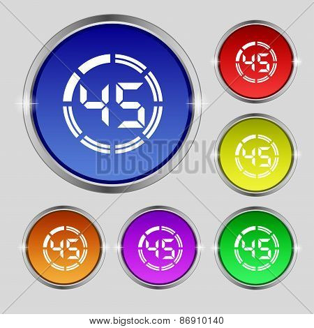 45 Second Stopwatch Icon Sign. Round Symbol On Bright Colourful Buttons. Vector