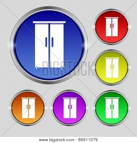 Cupboard Icon Sign. Round Symbol On Bright Colourful Buttons. Vector