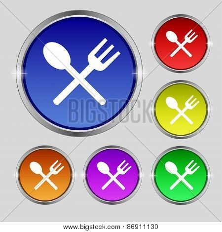 Fork And Spoon Crosswise, Cutlery, Eat Icon Sign. Round Symbol On Bright Colourful Buttons. Vector