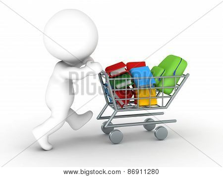 3D Character with shopping cart with books and school bag - back to school shopping concept