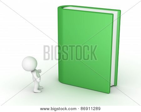 3D Character Looking up at Large Book