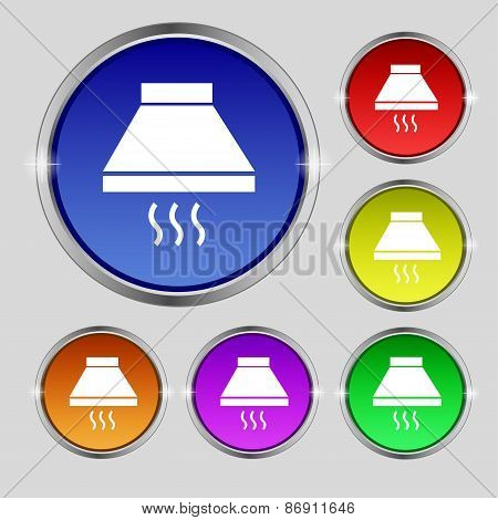 Kitchen Hood Icon Sign. Round Symbol On Bright Colourful Buttons. Vector
