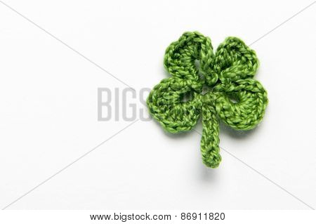 Flower And Clover Leaf Made Of Yarn