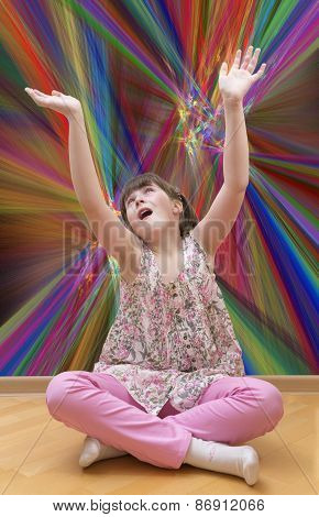 Girl meditating on abstract background