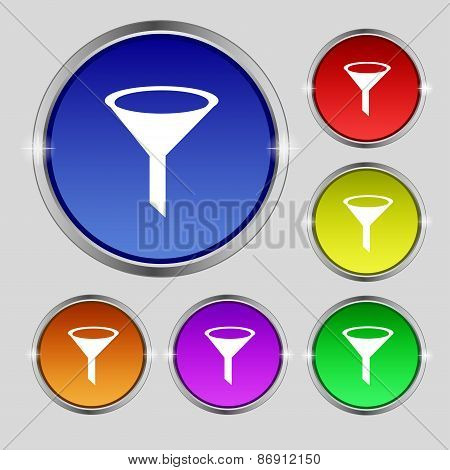 Funnel Icon Sign. Round Symbol On Bright Colourful Buttons. Vector