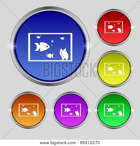 Aquarium, Fish In Water Icon Sign. Round Symbol On Bright Colourful Buttons. Vector