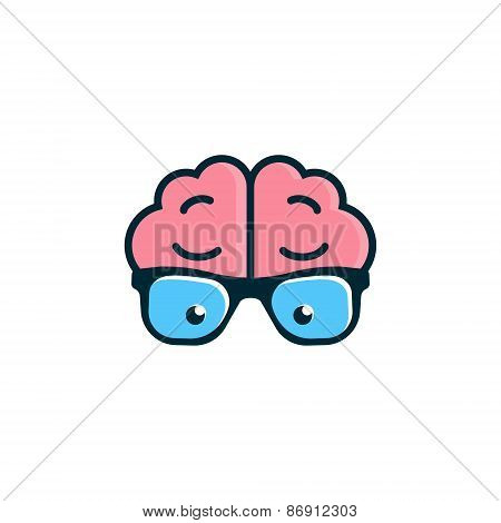 Brain with glasses. Science logo