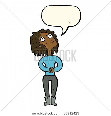 cartoon woman looking upwards with speech bubble