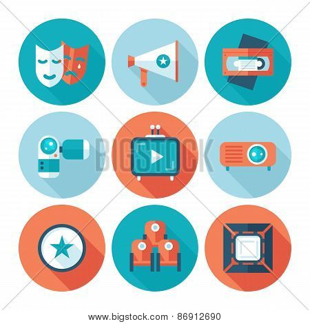 Set of flat cinema and movie icons. Media video attributes.