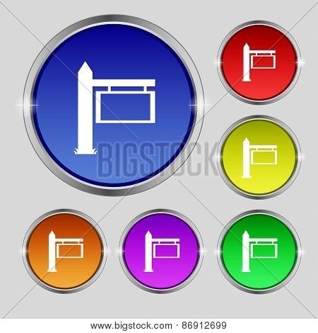 Information Road Sign Icon Sign. Round Symbol On Bright Colourful Buttons. Vector